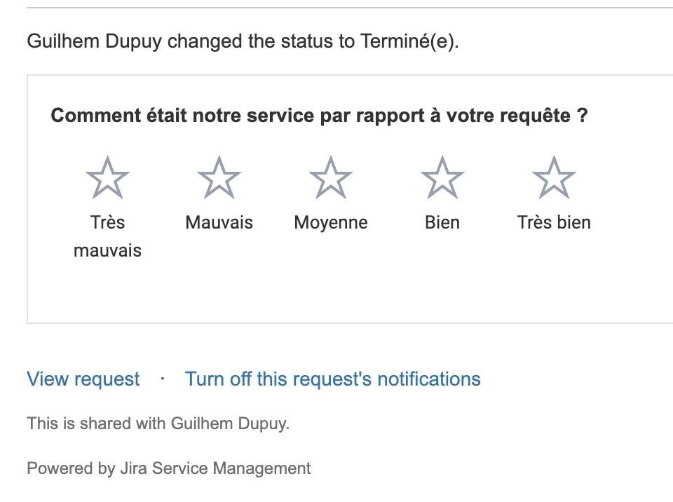Mail Jira satisfaction client